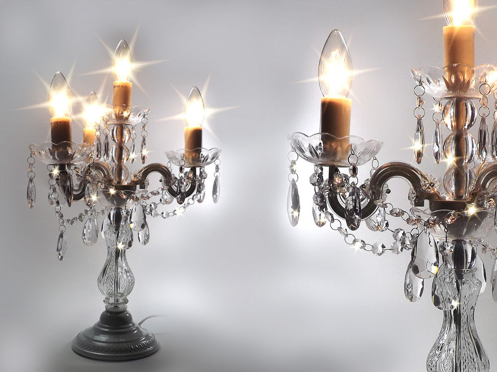 Clear & White Crystal Effect 4 Arm Gypsy Table Chandelier ...