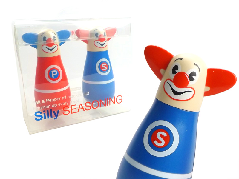 Clown salt and pepper shaker silly circus seasoning pots Funky salt and pepper grinders