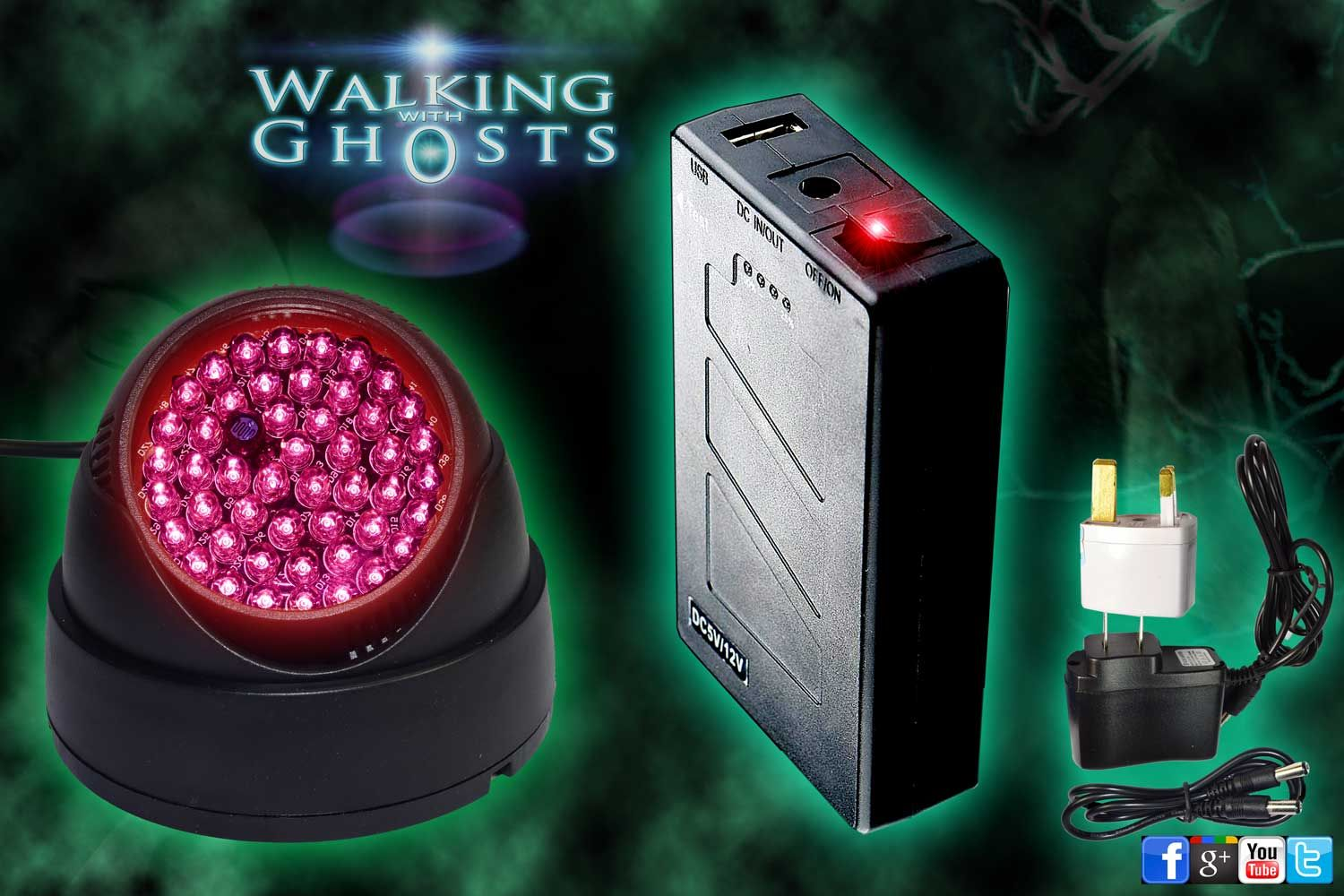 IR Infrared Night Vision Light + 12v Rechargeable Battery/Mains Kit Ghost Hunt /UK & IR Infrared Night Vision Light 12v Rechargeable Battery Mains Kit ... azcodes.com