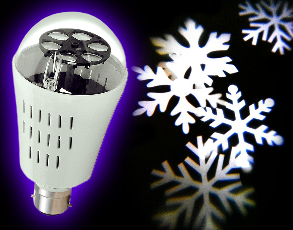Rotating led projector spot light bulb snowflakes shapes party disco