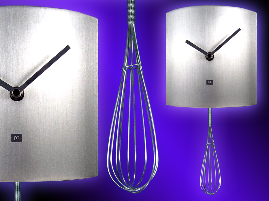 Silver Brushed Steel Whisk Pendulum Kitchen Wall Clock